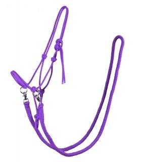 Licol éthologique corde avec rênes-violet_la halle aux minis