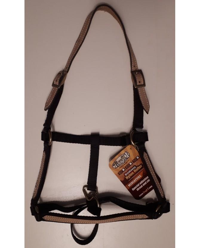 Licol nylon noir et doublé en cuir - cheval miniature - La halle aux minis